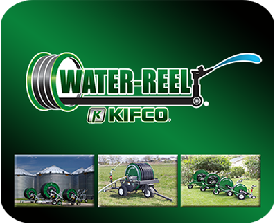 Kifco water-reels show portable irrigation capabilities for crop irrigation.