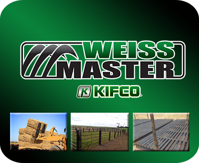 Weiss Master examples of hay handling equipment like bale forks, fence panels and heavy-duty bale movers.