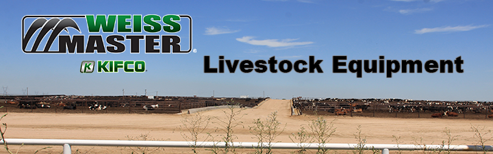 Advertisement for livestock equipment which includes cattle guards, loading chutes, fence panels, gates and pallet forks