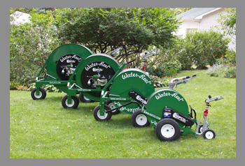 several B-series water-reels showcased for garden irrigation